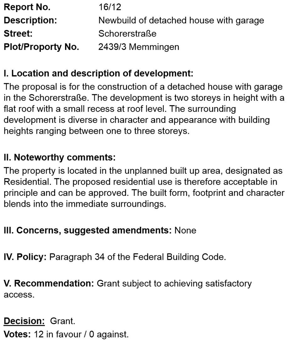 Proposals for a new home in a Section 34 area