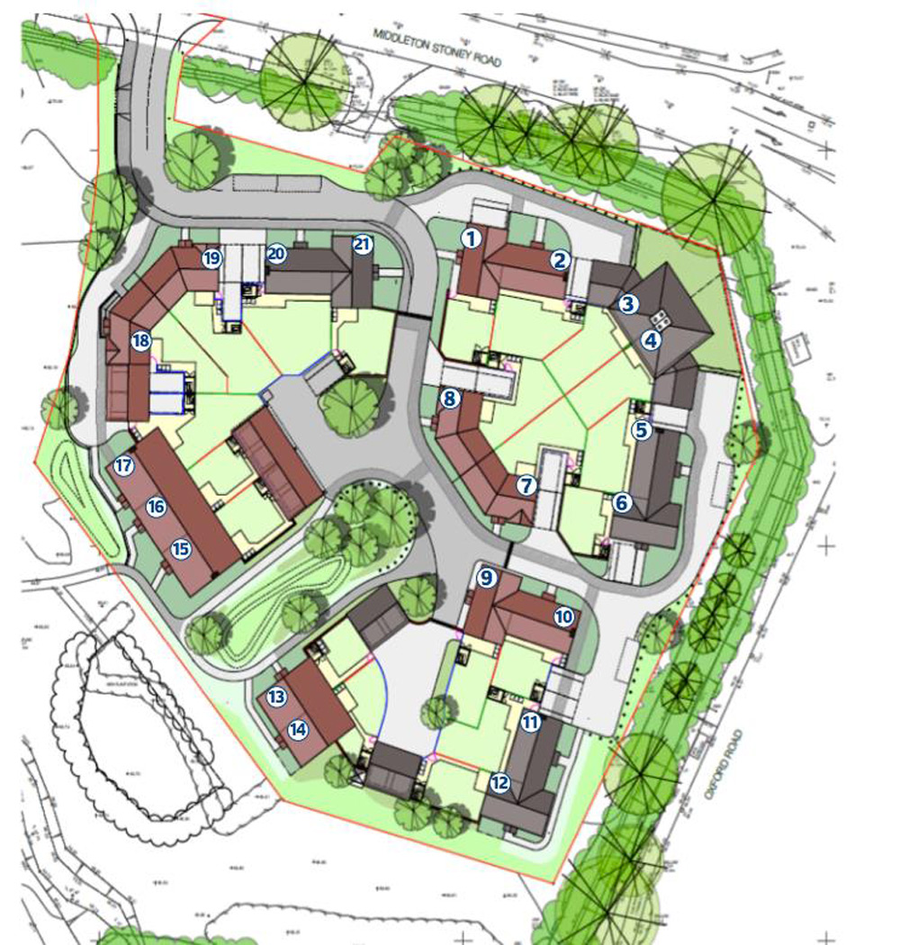 The homes are arranged in short terraces. The ones on the west of the site overlook a parkland area