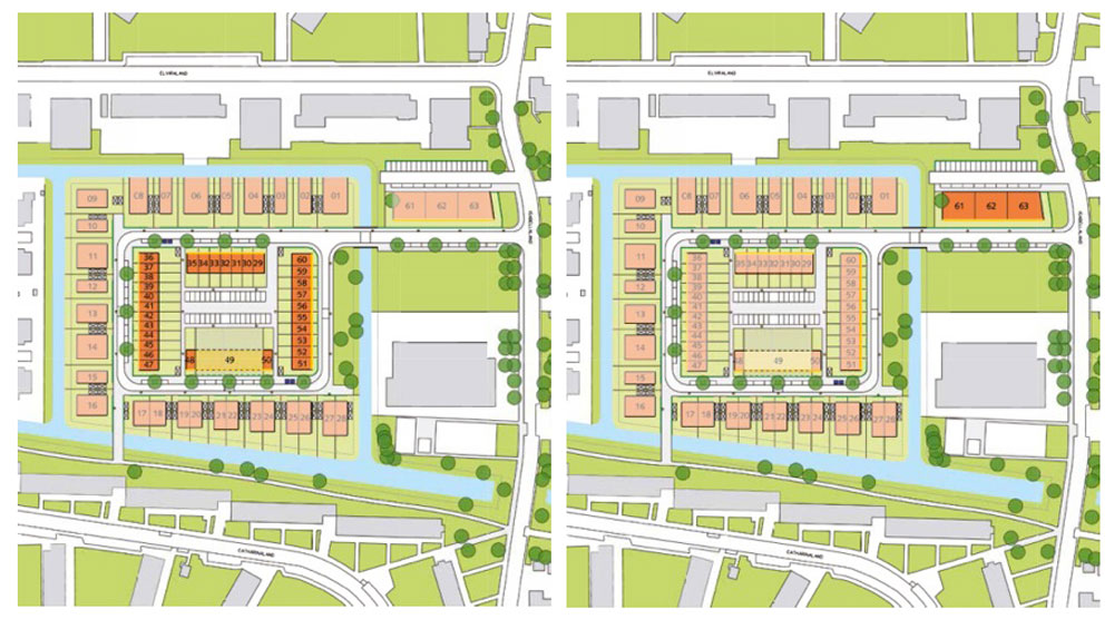 Plots 29-60 (left) must be terraced houses and are available in 4.8m, 5.4m or 5.7m plot widths. All plots are 10m deep and allowed to be built up to a maximum of 10m in height, in either two or three storeys. Plot 49 is special and can be purchased in multiples of 60cm, providing minimum plot widths are adhered to. Plots 61-63 (right) are reserved for apartment blocks and are not restricted to occupation only by those that build them. The plots are roughly 14m square and can be built up to a maximum of 13m. On plots 61 and 62, up to eight homes can be built over four storeys, while plot 63 may accommodate up to 12 homes over six storeys