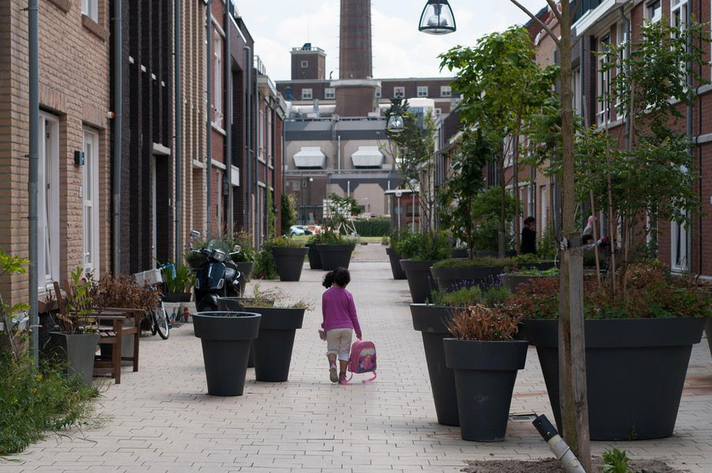 Hiding the car parking between the blocks has created a vibrant, safe public realm on the pedestrianised streets