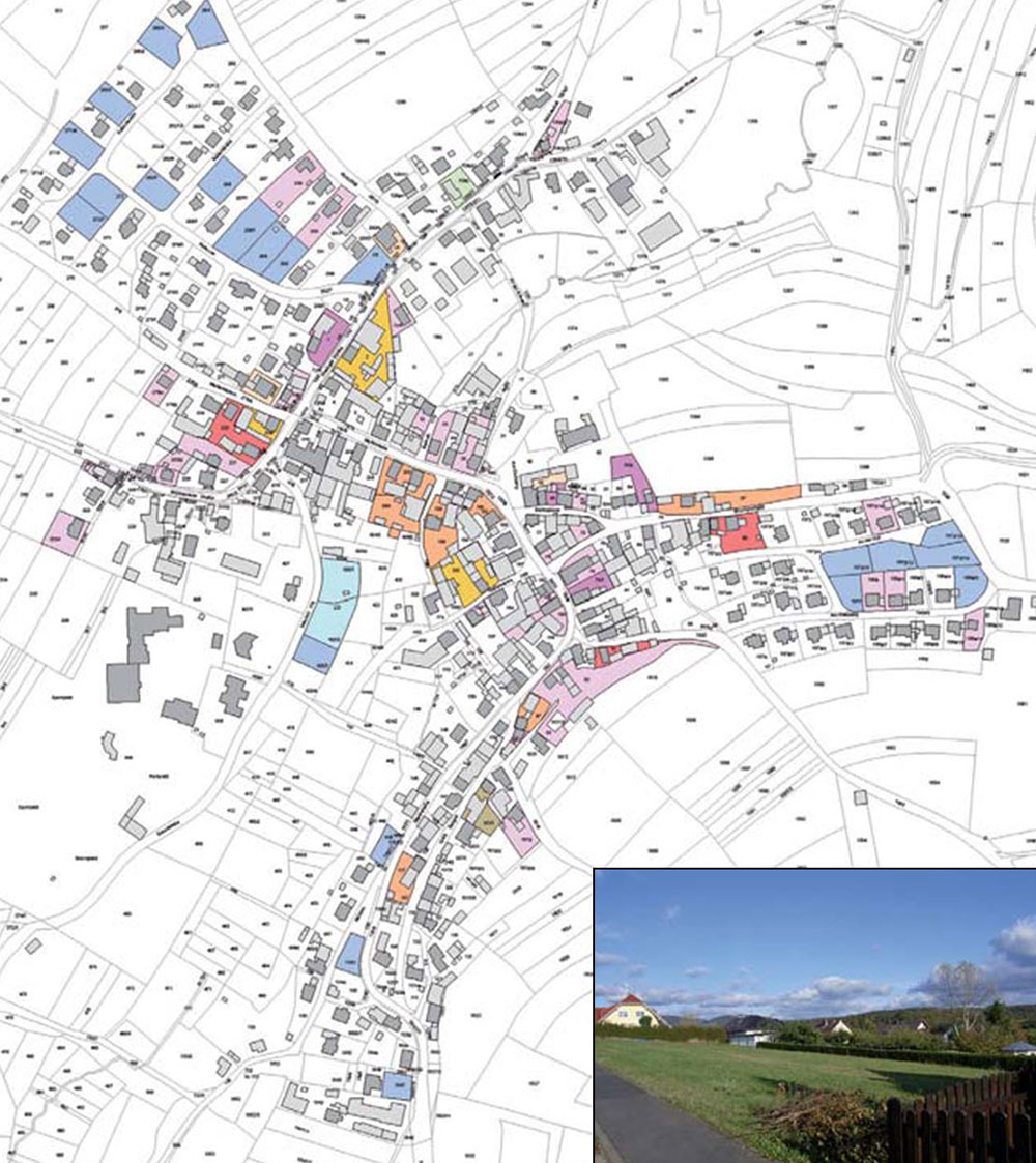 Bad Kissingen's approach to rural intensification has identified more than 50 infill opportunities for new housing in the small market town of Schondra. This is in addition to 44 empty homes and some 20 farm buildings that have potential for conversion