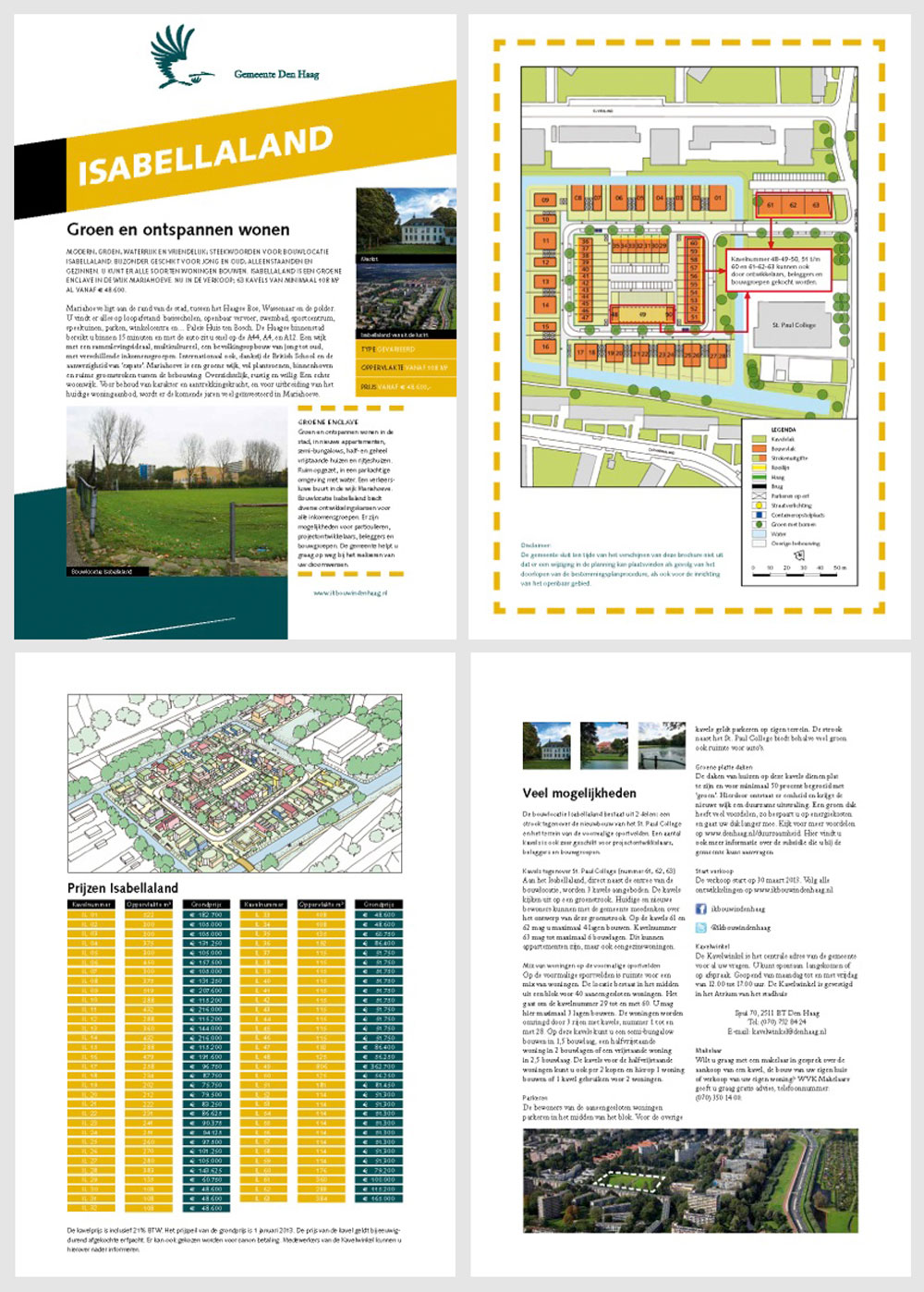 The four-page Gebiedskaart outlines the master plan, existing character of the area, likely character of the build out, plot sizes and prices