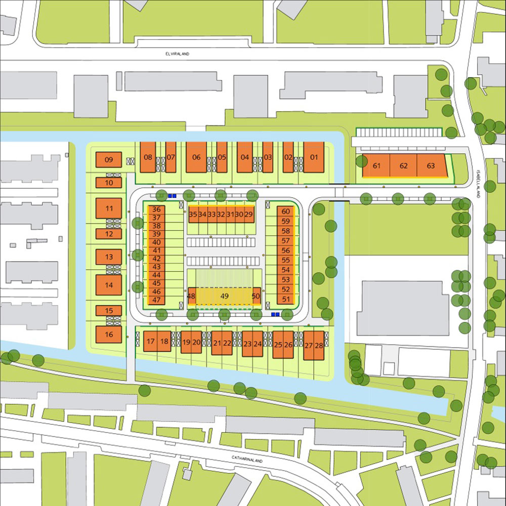 Master plan for Isabellaland – the orange blocks are the footprints within which private homebuilders may build. All plots are reserved for private homebuilders, but plots 48-50, 51-60 and 61-63 are also open to speculative developers, private-rental investors or groups of private homebuilders who want to build together as a company or as a 'building group' for their own occupation