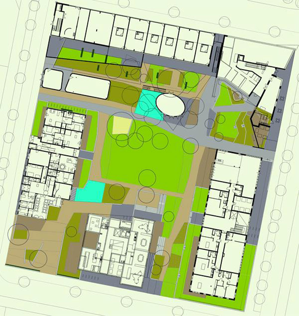 Plan showing the five building groups on parcel D13