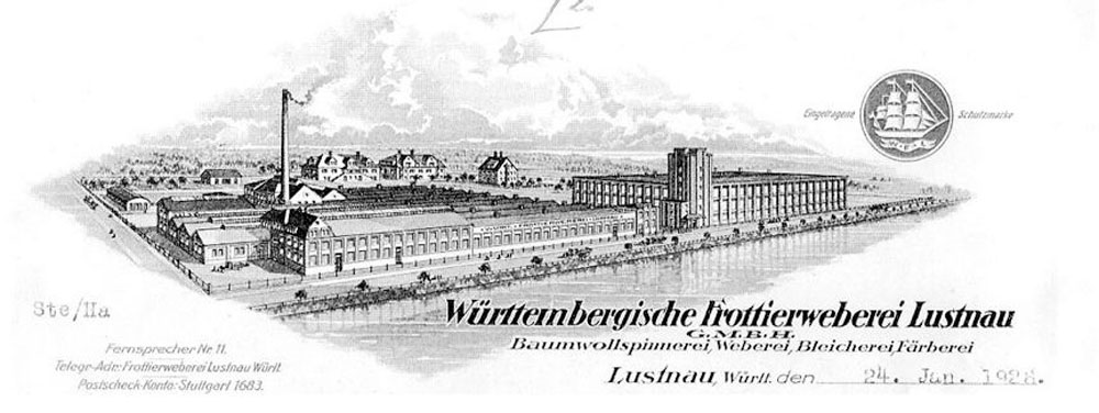 A heritage illustration of the former textile mill