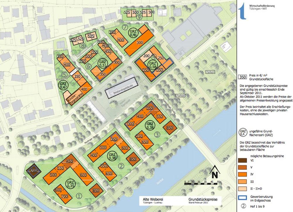 Plan denoting the price per sq m for each plot