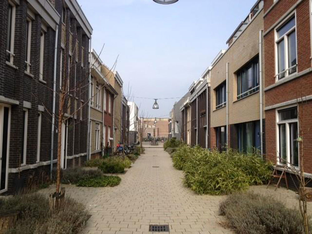 Typical streetscape for some of the social housing homes (above, left). The social housing is integrated with private housing (below – social on the right and private homes on the left)