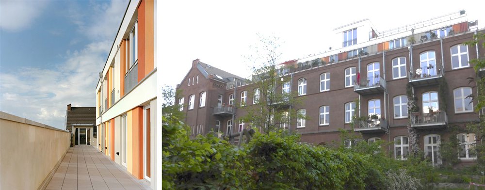 The rooftop apartments are set back from the parapet to provide access (left); and the project viewed from its courtyard garden (right)