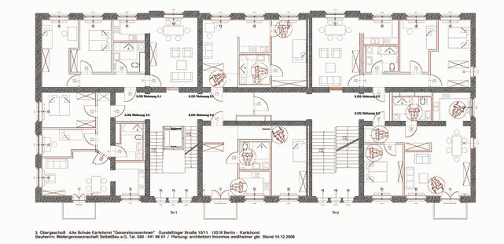 A typical floor plan of the converted building
