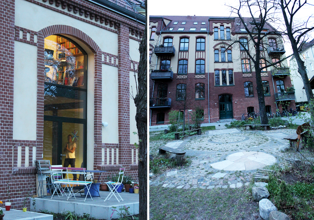 The old gymnasium has been subdivided to create two floors of living space (left) and the courtyard garden is designed to be barrier-free (right)