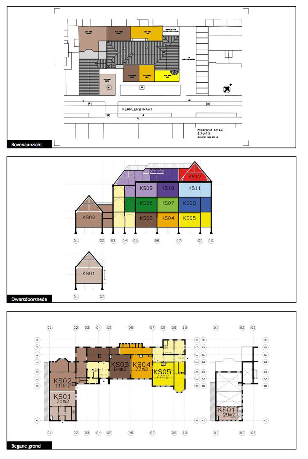 Plans showing how the existing building has been divided up into 'shells' for self-builders