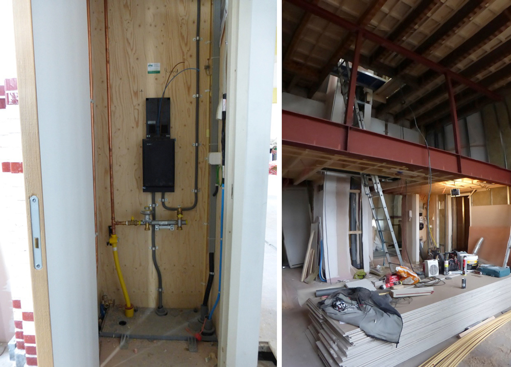 Typical utilities connection in each 'shell' (left) and subdivision of high-ceilinged rooms to form mezzanines (right)