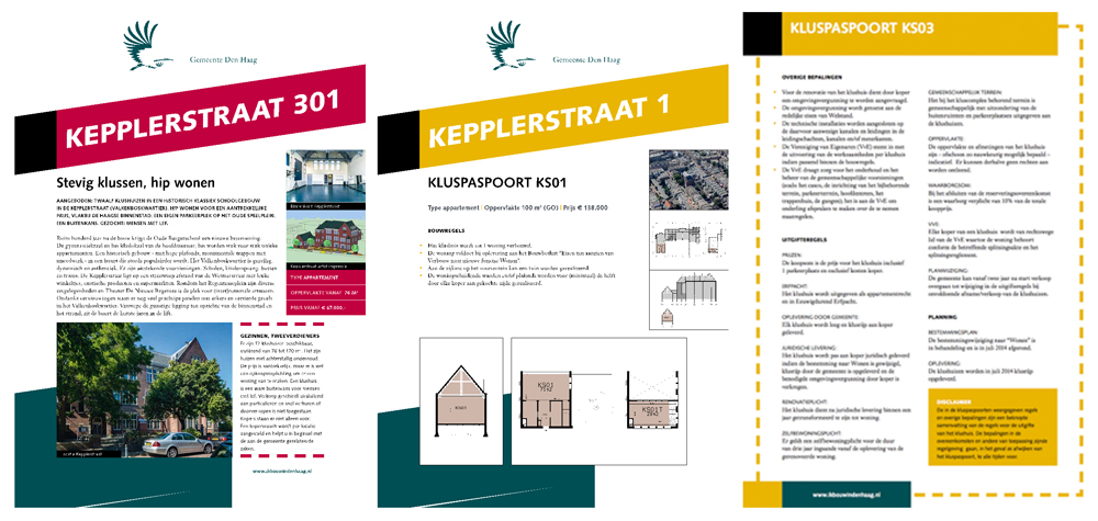 Pages from the project's marketing material including a general introduction (left) and plot passport (centre and right)