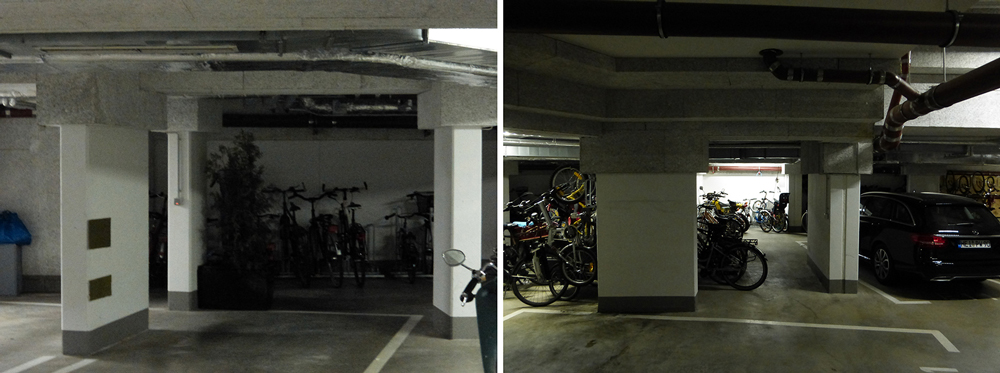 The car park is hidden under the courtyard and has plenty of space for bikes, storage as well as cars