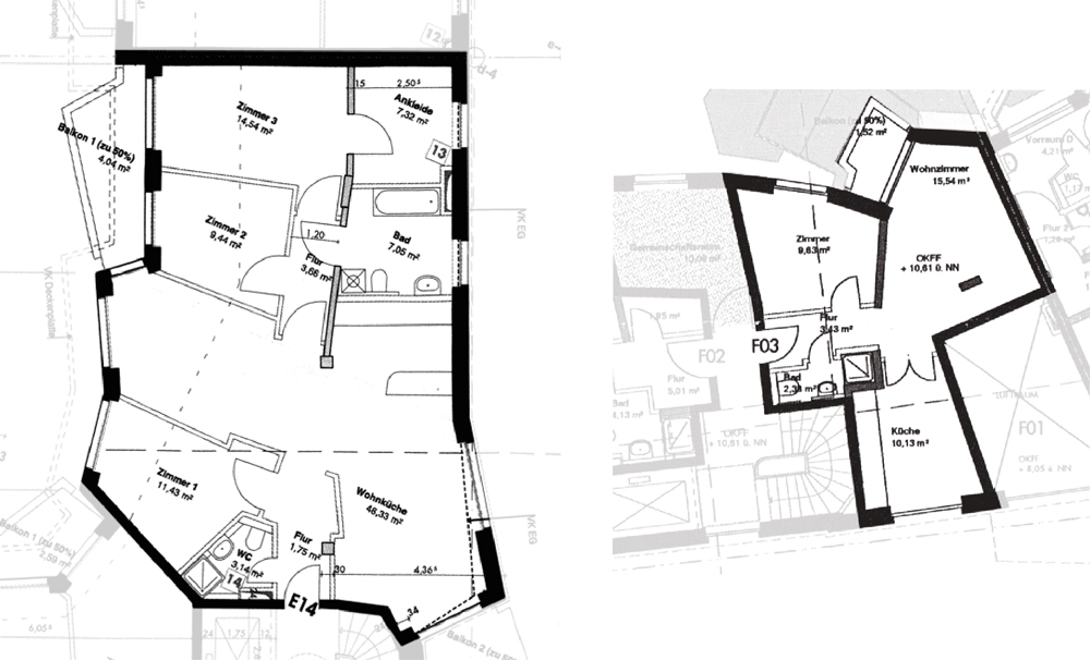 Two typical apartments – the plan on the left is of a 110 sq m, three-bedroom flat on the sixth floor of 'House E'; the plan on the right is of a 44 sq m, one-bedroom apartment on the first floor of 'House F'. The floor plans were customised to suit each occupant