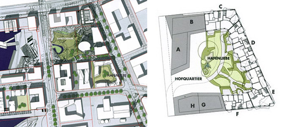 The Hafenliebe project comprises four clusters of apartments – each of which has its own entrance and is structurally separate from the others – labelled C, D, E and F on the plan above