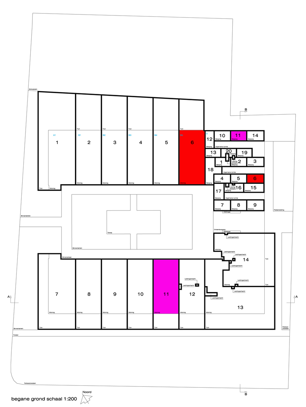 A 400 sq m shared courtyard garden is surrounded by the homes. The small boxes in the top right of the plan are storage units assigned to each household