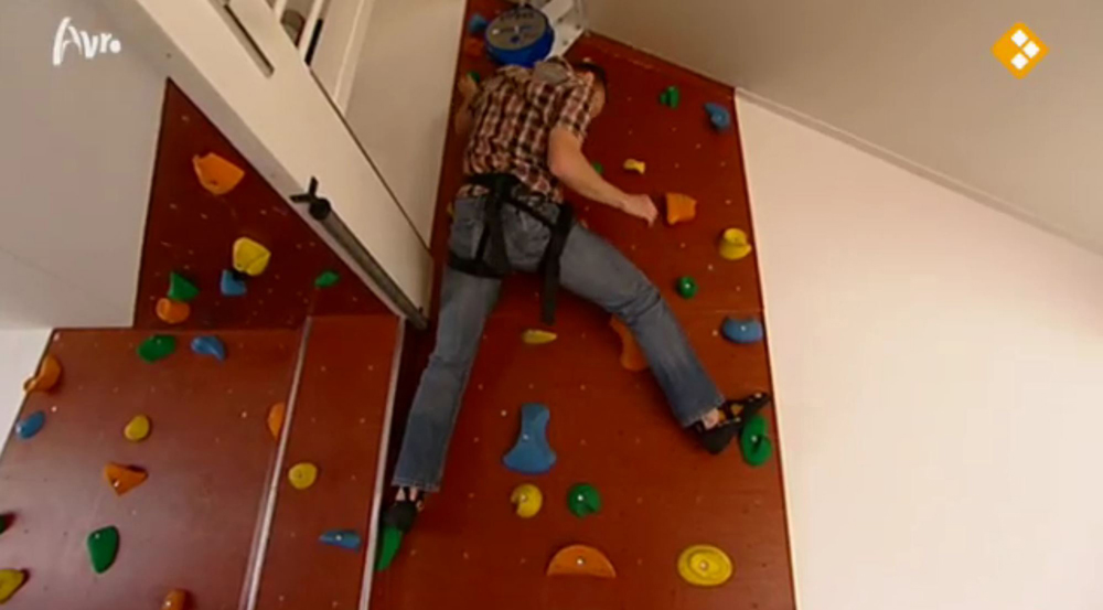 This resident has used his internal fit-out budget and sweat equity to customise his stairwell to feature a climbing wall – a long-standing hobby for which he now has a home training facility