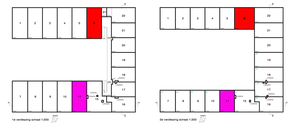 Homes 1 to 14 have ground floor access, while homes 15 to 22 are accessed via a deck at first floor level and sit above the storage area and larger units (13 and 14)