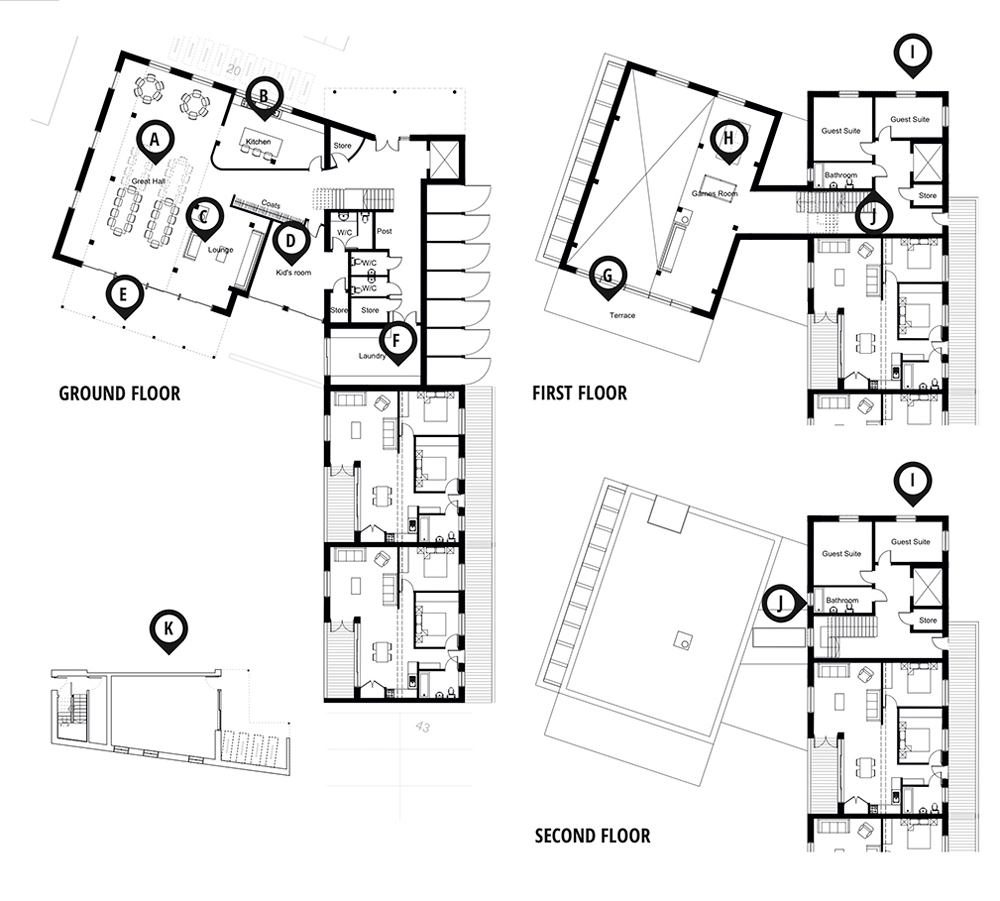 Plans for the common house which sites at the centre of the scheme